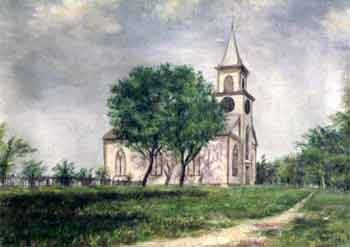 Historical painting of Unitarian Church of Barnstable
